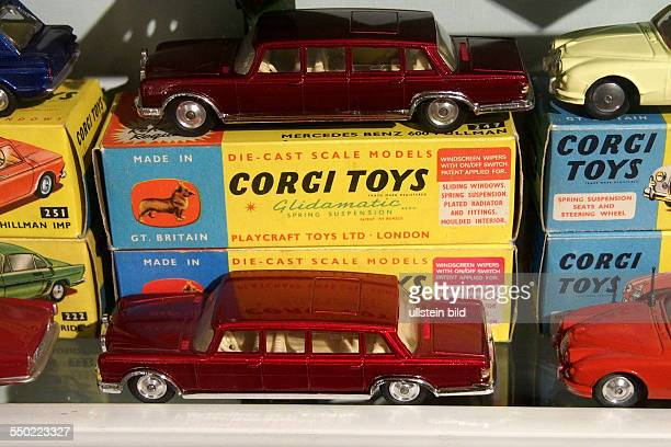 Red Mercedes Benz 600 Pullman car plus box from Corgi Toys Toy and model museum Brighton East Sussex England UK on