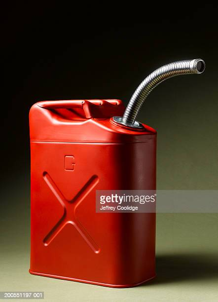 Red metal gas can, close-up
