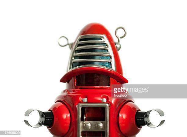 Red metal toy robot medium shot