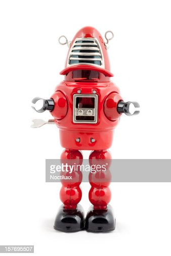 Red metal toy robot