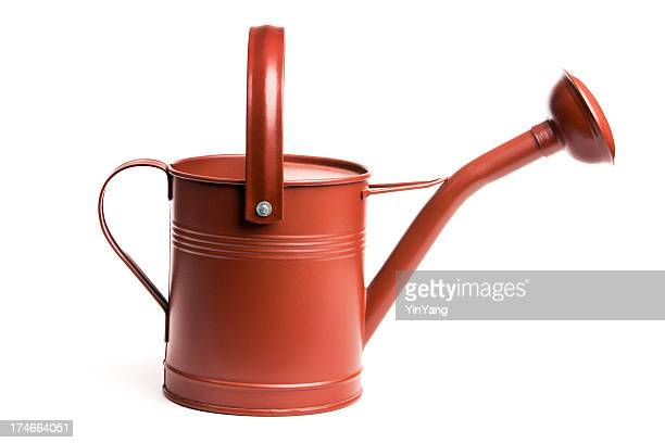 Red Metal Watering Can, Old-fashioned Gardening Equipment Isolated on White