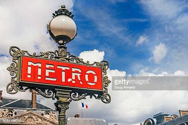 Red metro sign, Paris, France