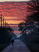 Red morning on the village street
