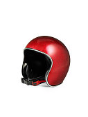 Red motorcycle helmet isolated on white background