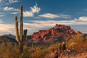 The setting sun creates a stunning lightshow on Red Mountain and the Sonoran Desert near Phoenix, Arizona.