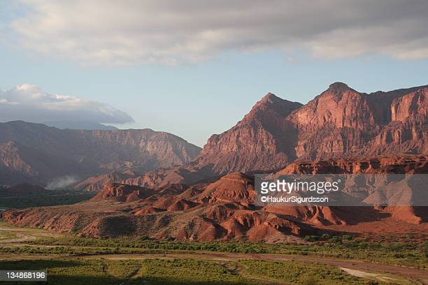 Red mountains in sunrise