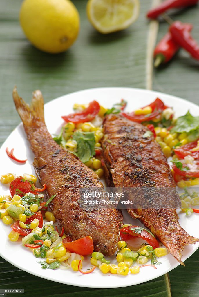 Red Mullets 'Cajun style' : Stock Photo