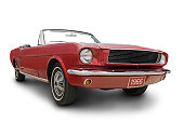 A red Mustang convertible isolated on white