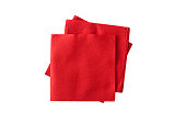 Red napkins on the white background