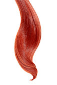 Red ponytail isolated on white