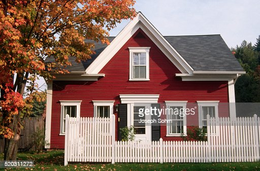 Red new england house stock photo getty images for New england house