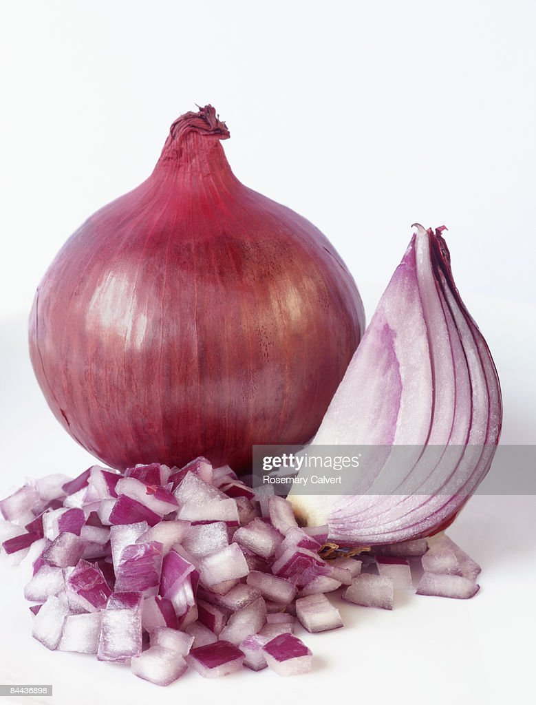 Red onion, quarter onion and chopped onion. : Stock Photo
