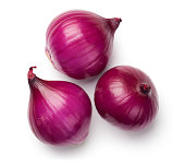 Red onions isolated on white background. Top view