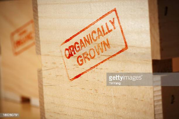 Red Organically Grown Rubber Stamp Impression on Produce Wooden Crate