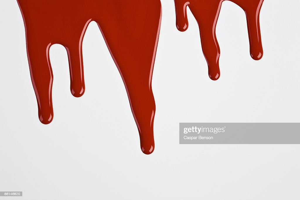 Red Paint Dripping Down A White Wall Stock Photo | Getty Images