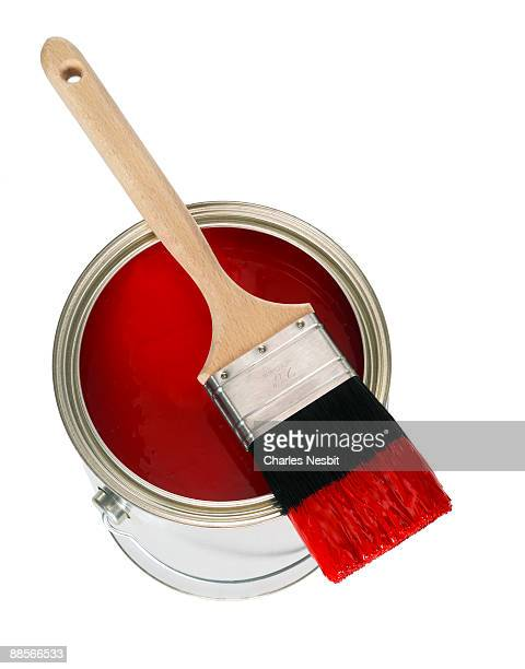 Red Paint with Brush and Bucket
