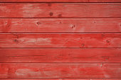 Close-up on red painted wooden board. Grungy style image.