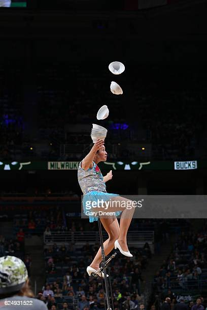 Red Panda performs during halftime of the game of the Milwaukee Bucks and Golden State Warriors on November 19 2016 at the BMO Harris Bradley Center...