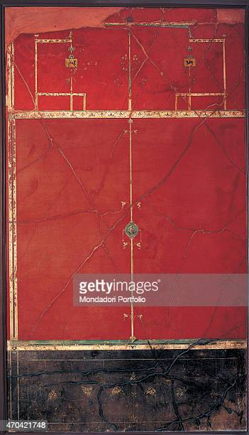 'Red Panel by unknown artist c 11 1st Century BC ripped fresco 278 x 171 cm Italy Campania Naples National Archaeological Museum Room LXX inv 147504...