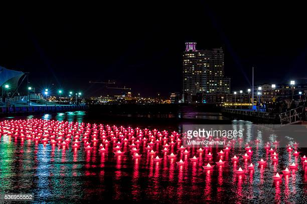 Red Paper Boats On Water--Light City Baltimore 2016