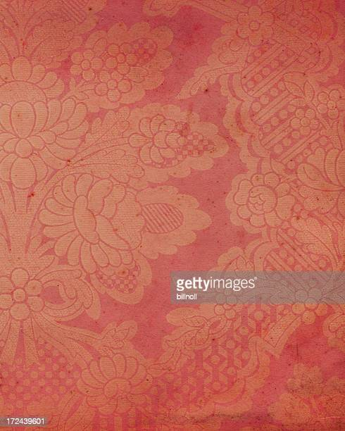 red paper with antique floral pattern
