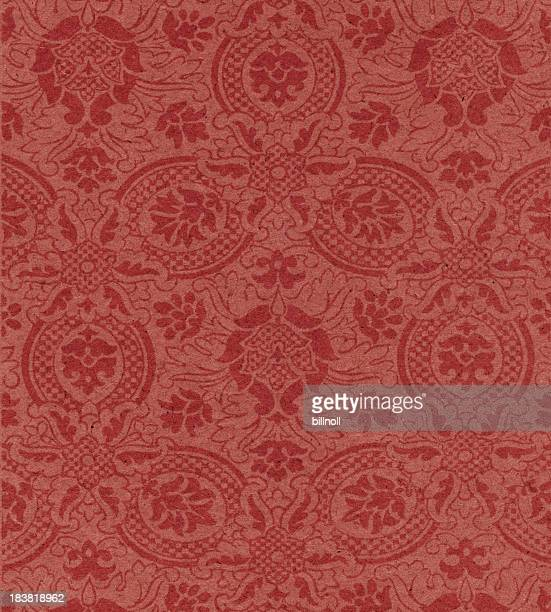 red paper with floral pattern