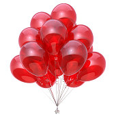 Red party balloon birthday decoration glossy balloons bunch. Happy holiday anniversary celebrate invitation greeting card background. 3d illustration isolated on white