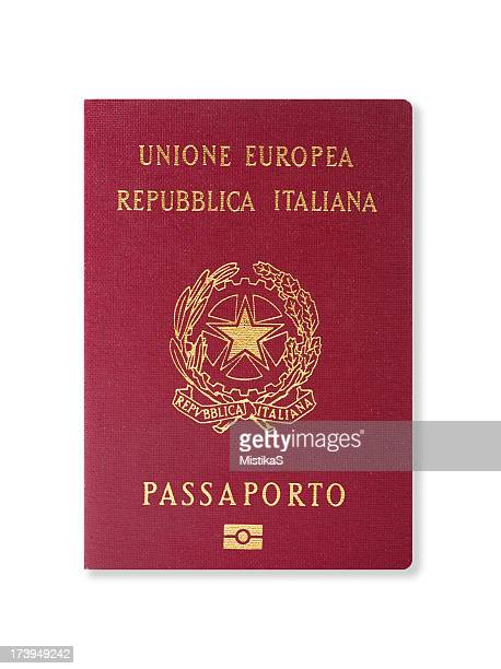 Red passport of an Italian citizen on a white background