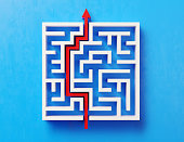 Red path across a white maze on blue background. Horizontal composition with copy space. Directly above.