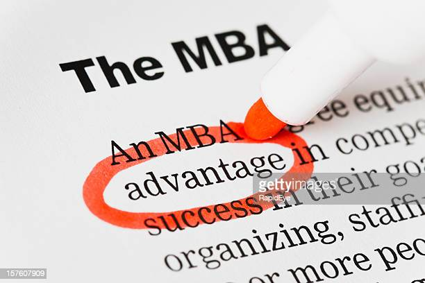 "Red pen circles ""advantage"" in document headed MBA."