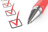 Red pen on checklist isolated on white background 3d