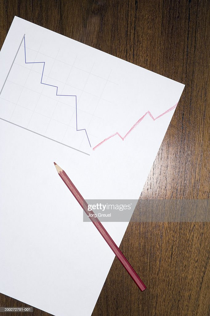 Red pencil on line graph drawing : Stock-Foto