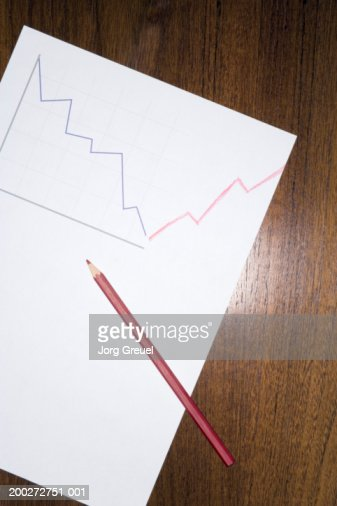Red pencil on line graph drawing : Foto de stock