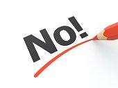 No! underlined by pencil