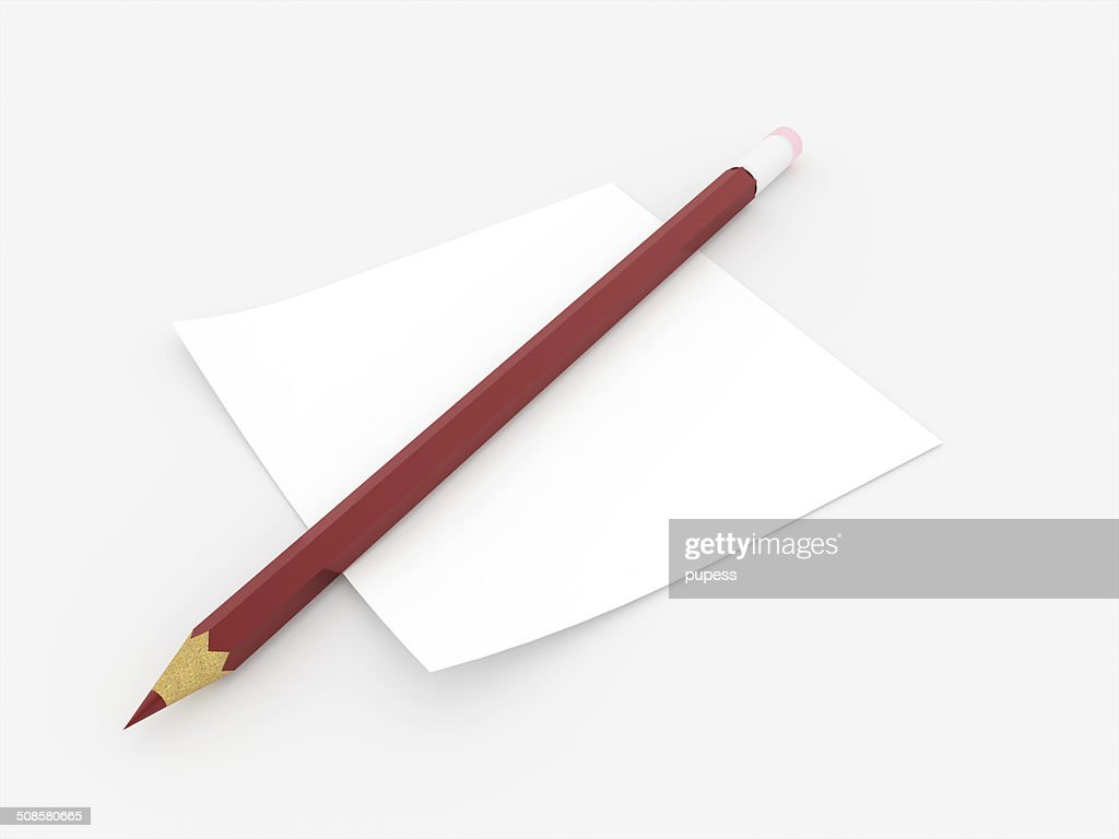 Red pencil with note paper rendered : Stock Photo