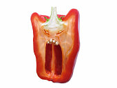 Red pepper with terrified face