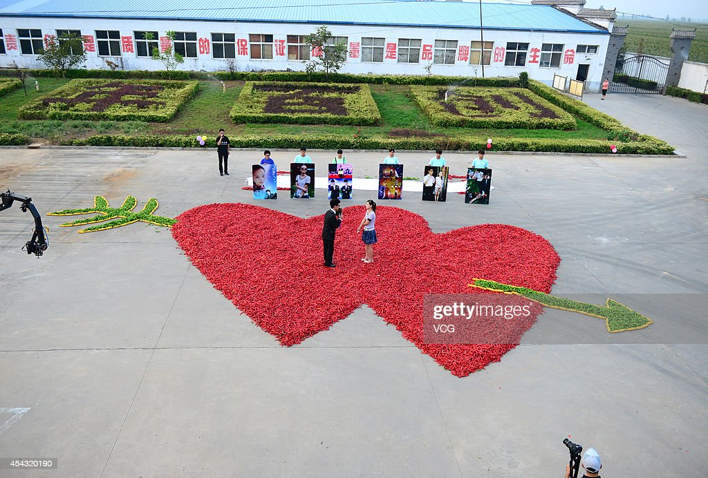 99999 red peppers are arranged into a heartshape ahead of a man proposing to a woman on August 29 2014 in Handan Hebei province of China A man made a...
