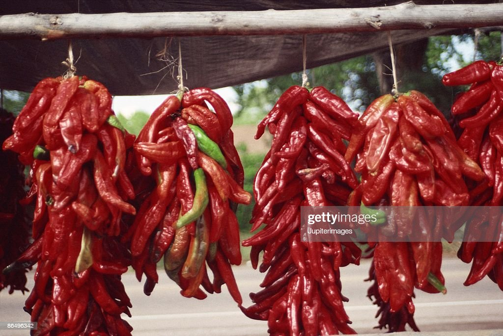 Red peppers drying