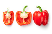 Red peppers isolated on white background. Top view