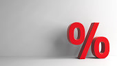 Red Percent sign on grey background, three-dimensional rendering, 3D illustration