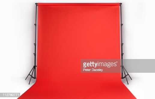 Red photographers backdrop in studio