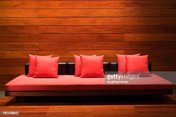 Vermelho almofadas mobiliário moderno do lobby do hotel