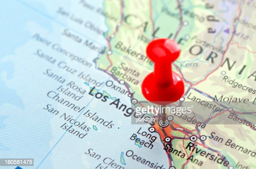 Us Cities On Map Series Los Angeles California Stock Photo Getty - Los angeles on the map
