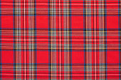 Red plaid, checkered scottish fabric texture background, high detailed