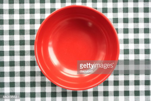 Red plastic bowl : Stock Photo