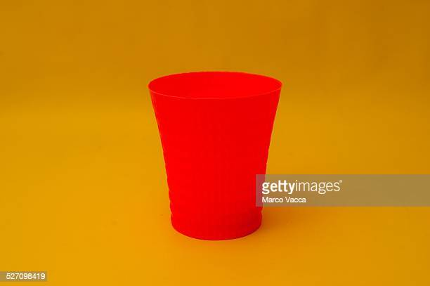 A red plastic glass produced by using a 3d printer