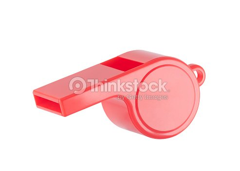 Red plastic whistle on a white background with clipping path : Stock Photo