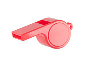 Red plastic whistle on a white background with clipping path