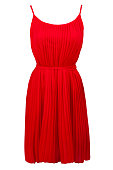 Red pleated dress, isolated on white