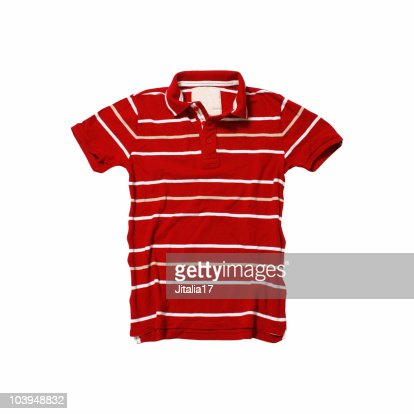 Red Polo Shirt With Stripes - White Background